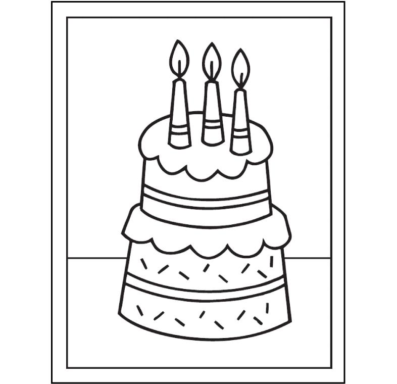 hình tô màu bánh sinh nhật 3 cây nến