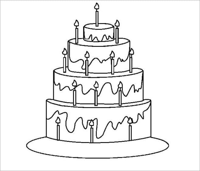 hình tô màu bánh sinh nhật đẹp