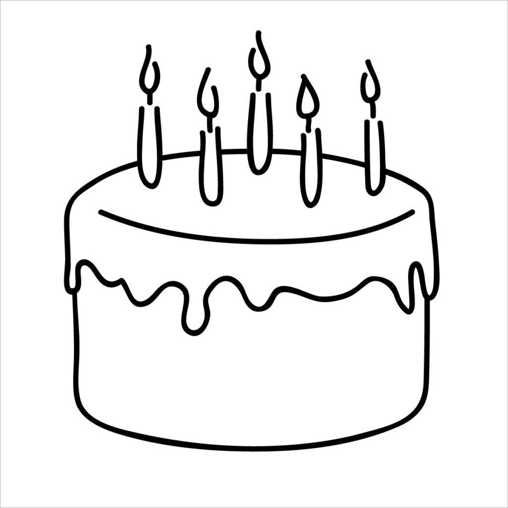 hình tô màu bánh sinh nhật xinh