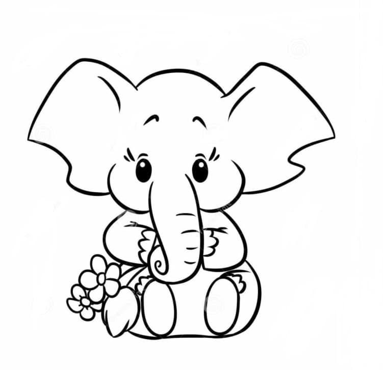 hình tô màu con voi baby