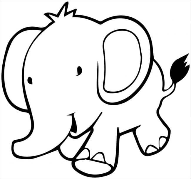 hình tô màu con voi đáng yêu