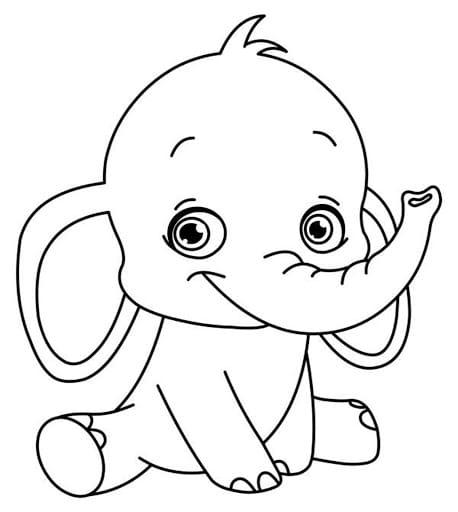 hình tô màu con voi ngộ nghĩnh