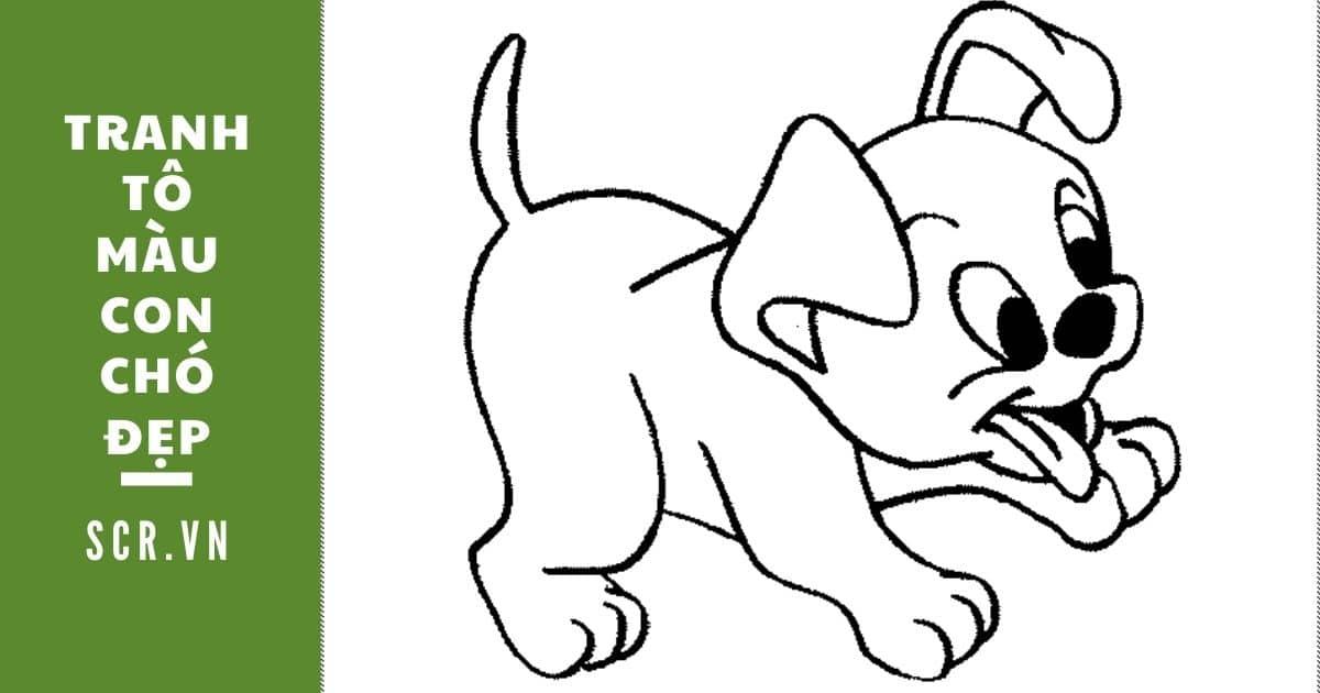 tranh tô màu con chó đẹp
