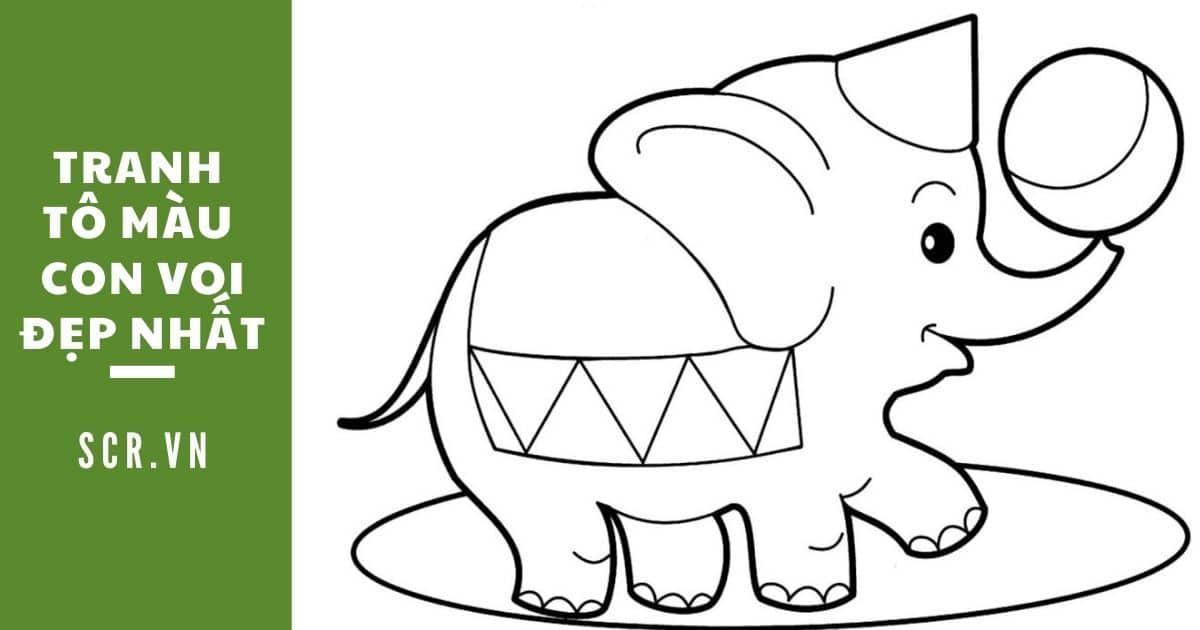tranh tô màu con voi đẹp nhất