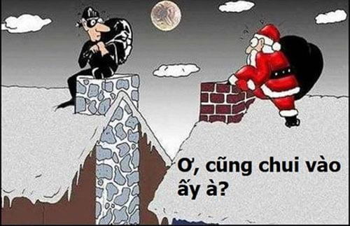 Ảnh troll hài hước về ông già Noel đi phát quà
