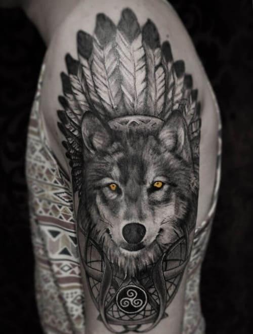 Ảnh xăm chó sói đẹp ở bắp tay