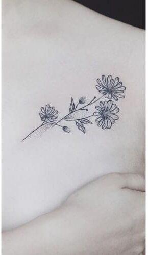 Ảnh xăm hoa cúc nhỏ xinh