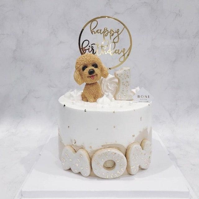 Bánh kem sinh nhật con chó poole siêu xinh và dễ thương