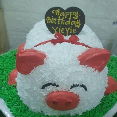 Bánh sinh nhật hình chú heo trắng dễ thương hết nấc
