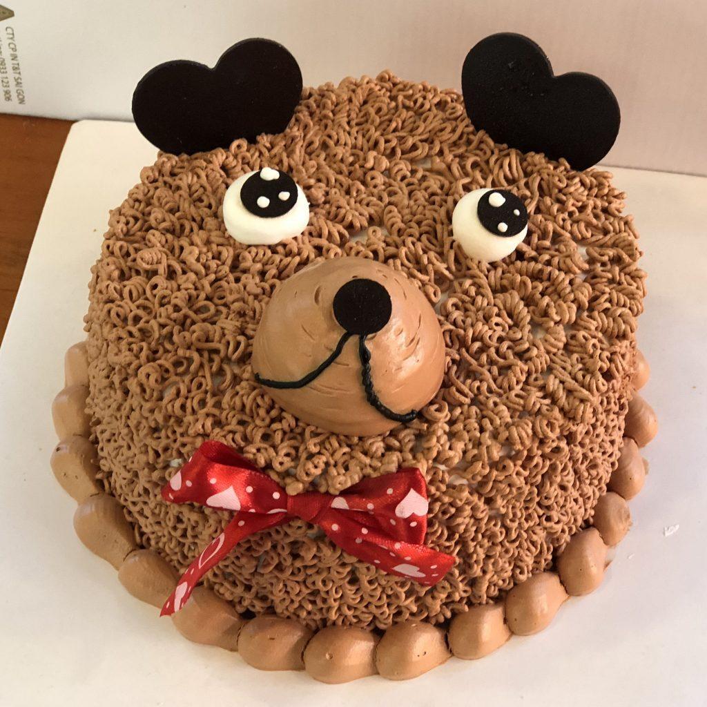 Bánh sinh nhật hình mặt chú chó ngộ nghĩnh