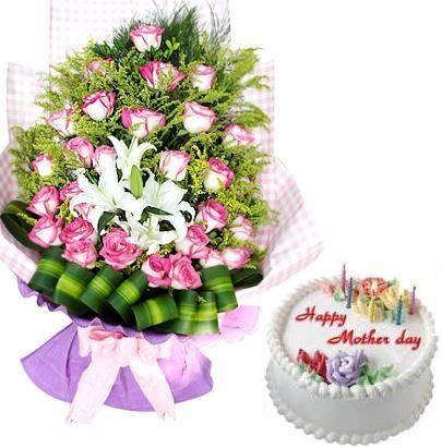 Bánh và hoa tặng mẹ