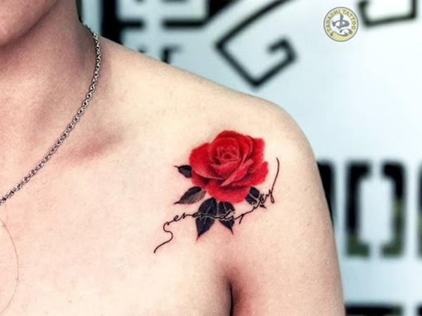 Ảnh xăm hoa hồng ở vai đẹp