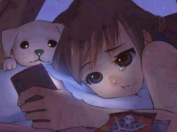 Bức ảnh anime chờ đợi tin nhắn của một người