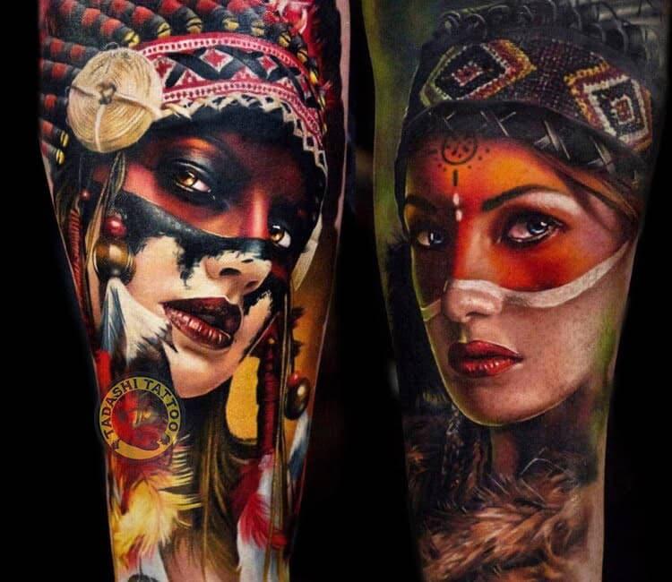 Càng nhìn càng u mê tattoo cô gái thổ dân