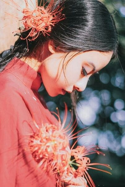 Cô gái e thẹn bên hoa bỉ ngạn