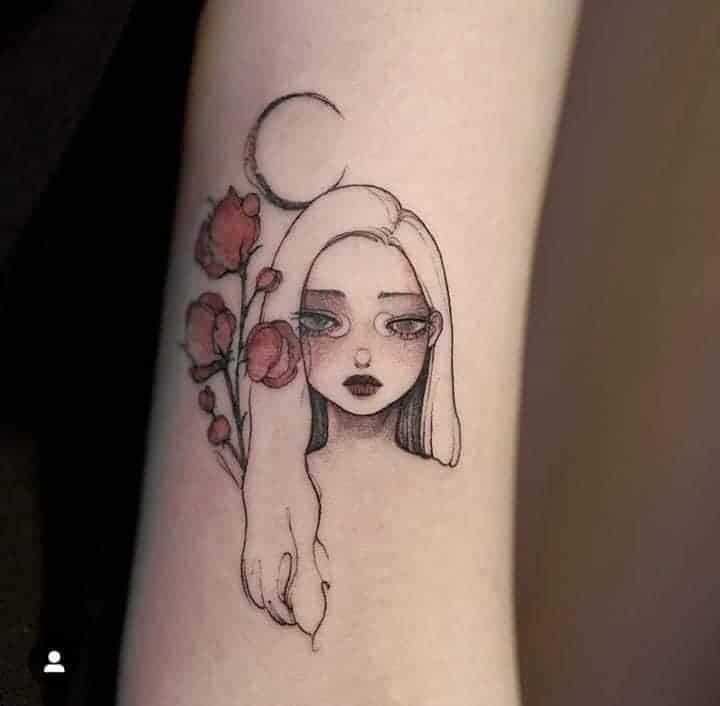 Cô gái với khuôn mặt buồn bên nhành hoa