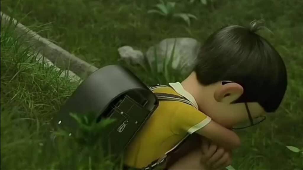 Hình Nobita ngồi buồn