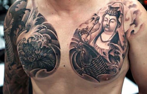 Hình Tattoo Phật Quan Âm Bồ Tát Đẹp
