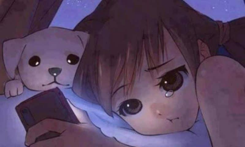 Hình ảnh anime khóc khi phải từ bỏ một thói quen
