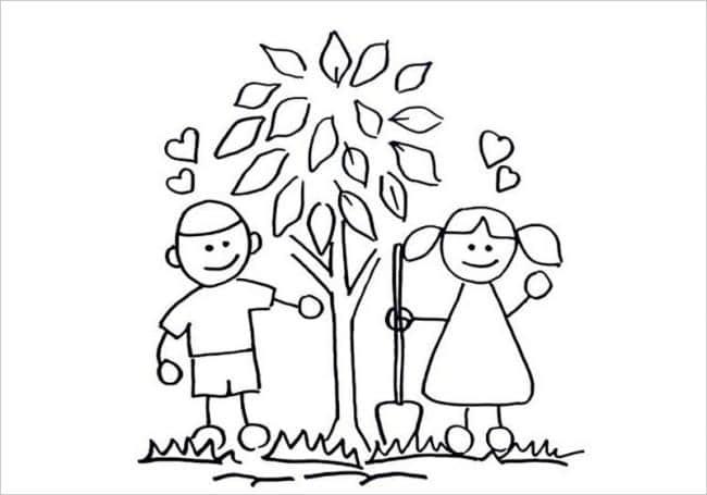 Hình ảnh bé trồng cây xanh