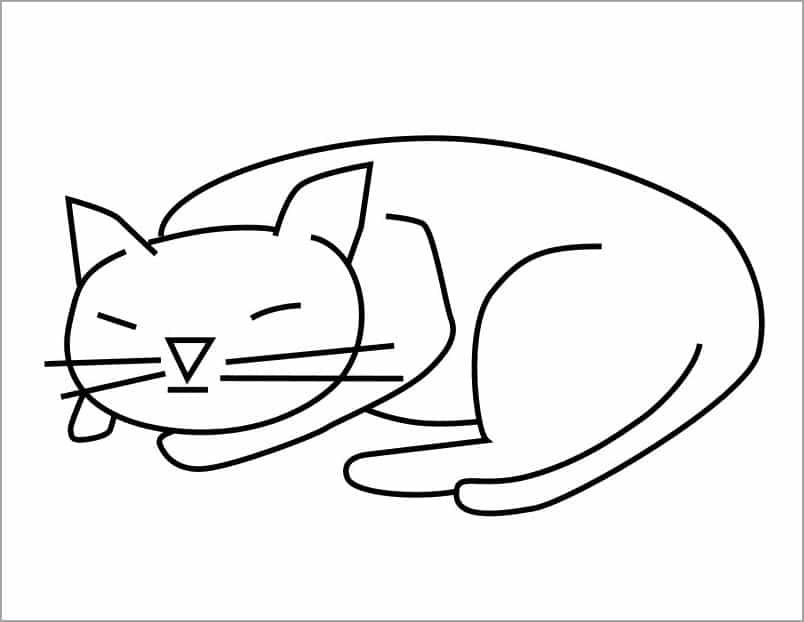 Hình ảnh chú mèo dễ thương cho bé tập tô mèo nằm ngủ