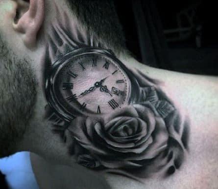 Hình ảnh hoa hồng và đồng hồ tượng trưng cho thời gian và sắc đẹp