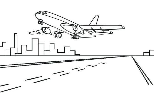 Hình máy bay hạ cánh cho bé