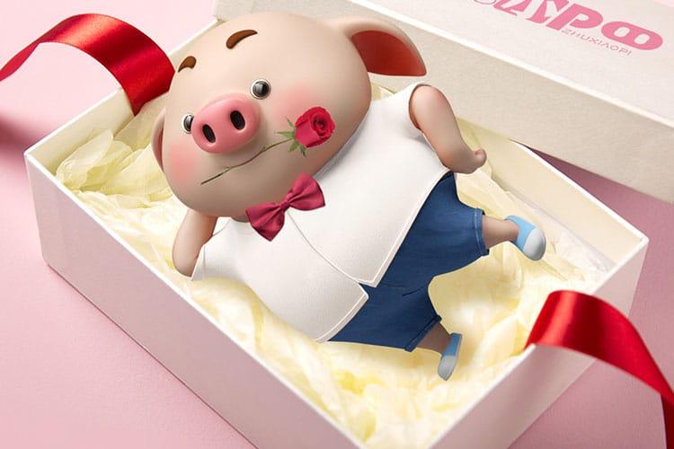 Hình nền lợn hồng chibi mừng sinh nhật ngộ nghĩnh
