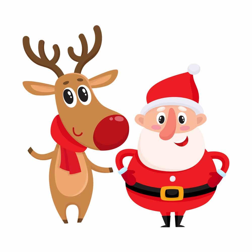 Hình ông già Noel dễ thương cùng với chú tuần lộc