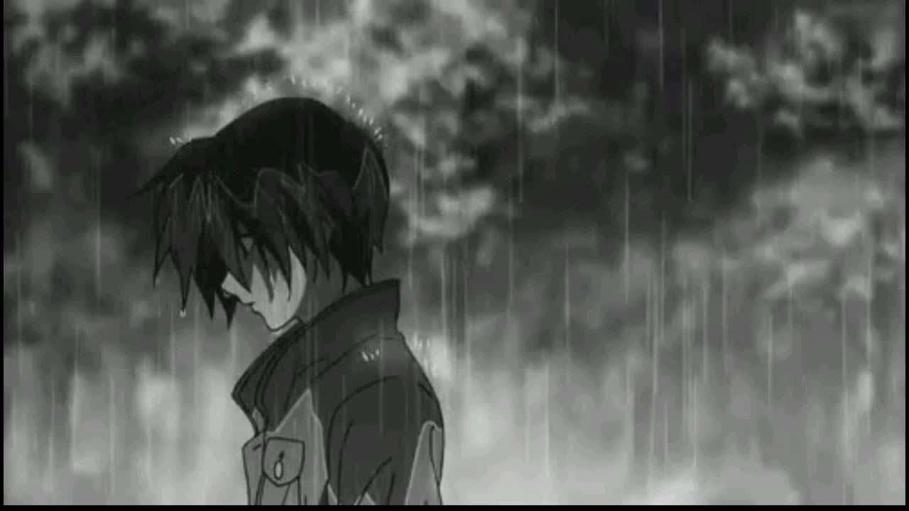 Hình tâm trạng buồn dưới mưa