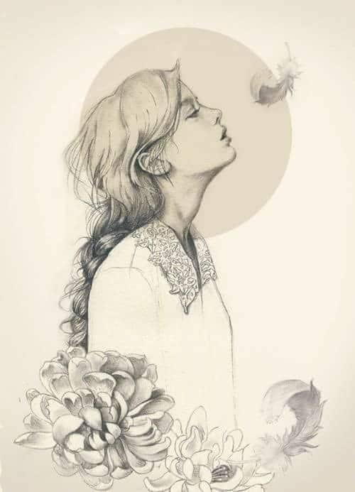 Hình tâm trạng nữ vẽ