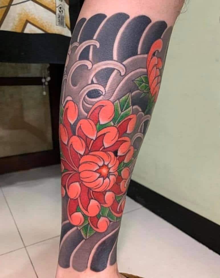 Hình tattoo hoa cúc Nhật cổ