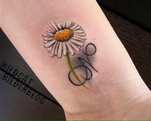 Hình tattoo hoa cúc dại đẹp