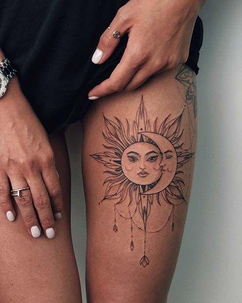 Hình tattoo nhỏ mini ở đùi cho con gái