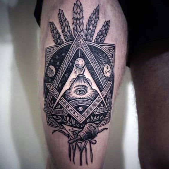 Hình tattoo ở đùi chất cho nam