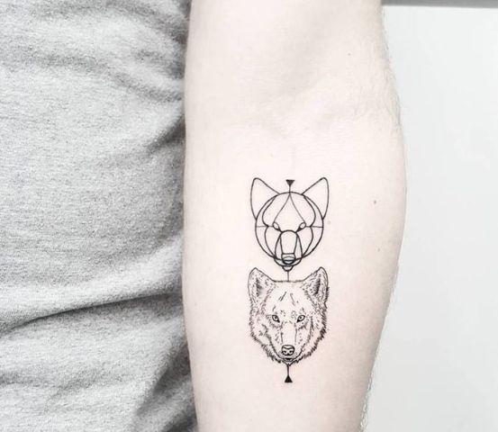 Hình tattoo sói nhỏ