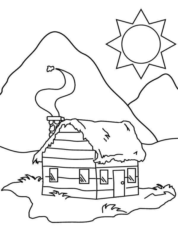 Hình tô màu phong cảnh thiên nhiên nhà và núi