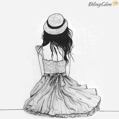 Hình vẽ cô gái buồn cô đơn