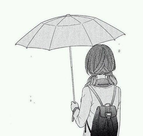Hình vẽ cô gái cầm dù một mình