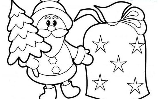 Hình vẽ ông già Noel tô màu