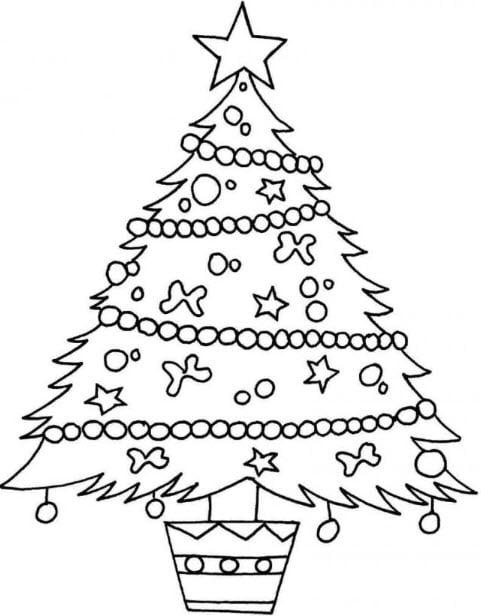 Hình vẽ tô màu cây thông Noel
