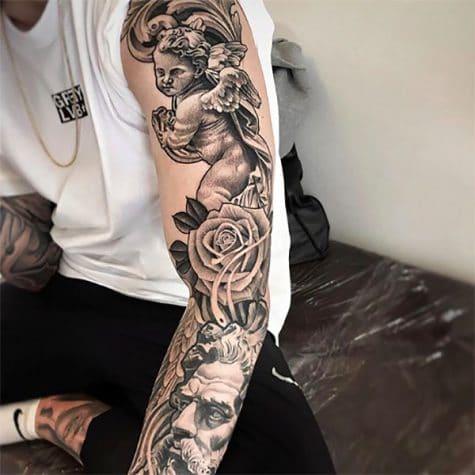 Hình xăm bông hồng kín tay