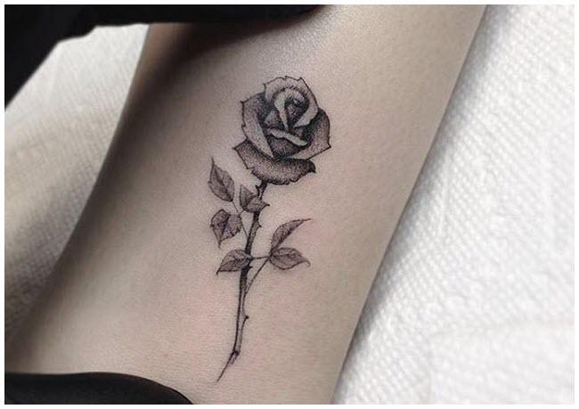Hình xăm bông hồng mini đẹp