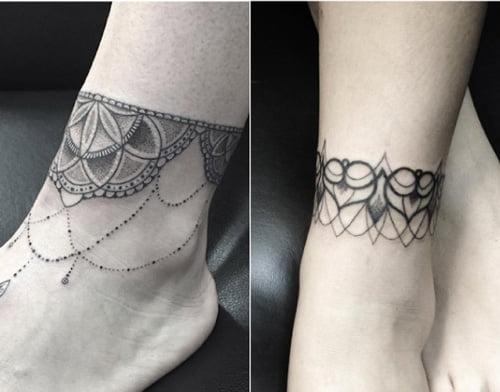 Hình xăm họa tiết ở cổ chân