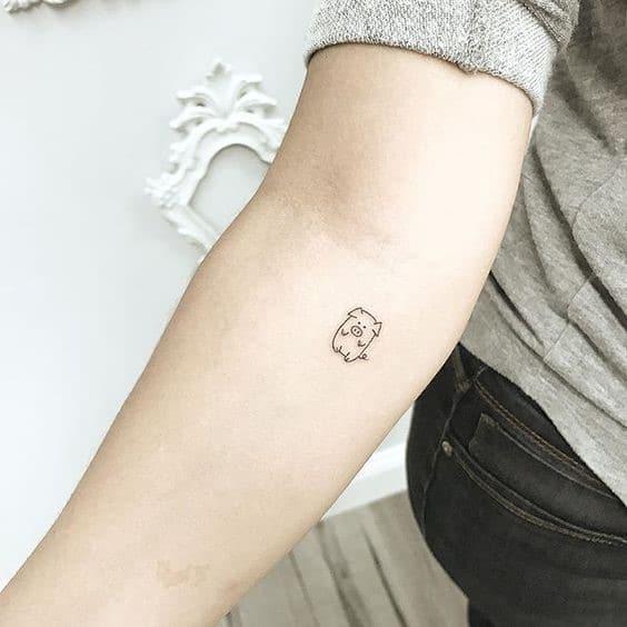 Không thể cưỡng lại sự đáng yêu từ mẫu tattoo con heo