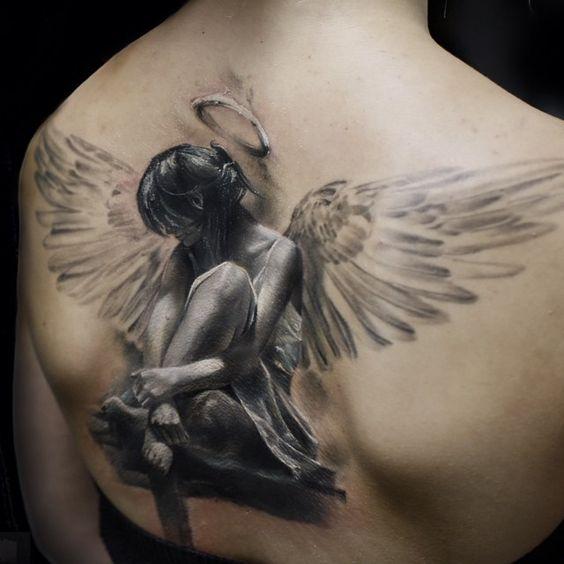 Kiểu xăm thiên thần hộ mệnh không thể xuất sắc hơn