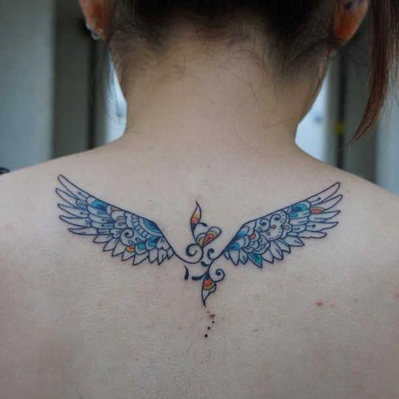 Mẫu Tattoo Đôi Cánh Mini Có Màu Đẹp