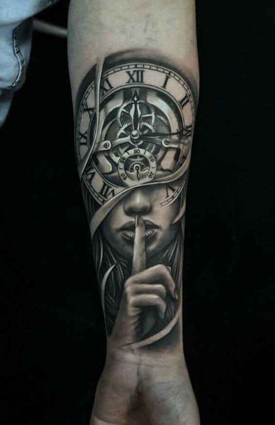 Hình Tattoo Đồng Hồ La Mã