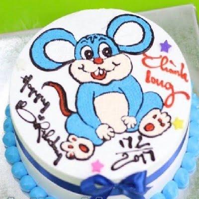 Mẫu bánh sinh nhật hình con chuột màu xanh
