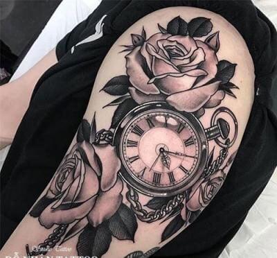 Mẫu tattoo hoa hồng đồng hồ đẹp
